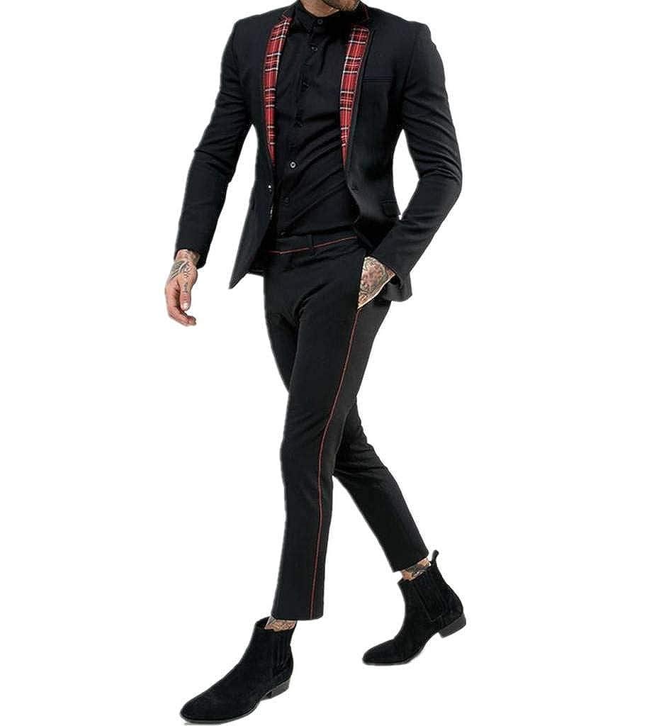 Judi Dench Tuta da Uomo 2 Pezzi Vestibilit¨¤ Slim Fit Giacca Monopetto con Pantaloni Tuta da Uomo JDMEN6003