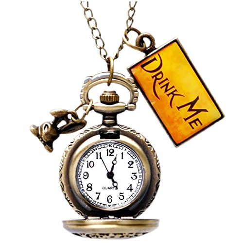 Classic Pocket Watch - AKStore - Rabbit Style Delicate Vintage Drink Me Pocket Watch With Chain ()