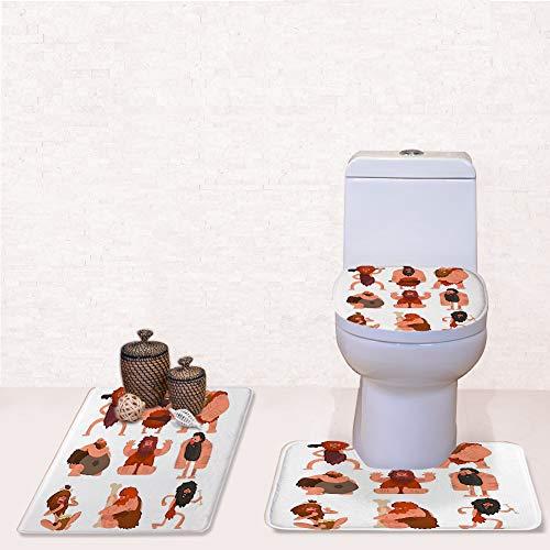 Door Mat Bathroom Rug Mats lid Toilet Bath Mat, Primitive Cavemen Set Stone Age,3 Piece Set ()