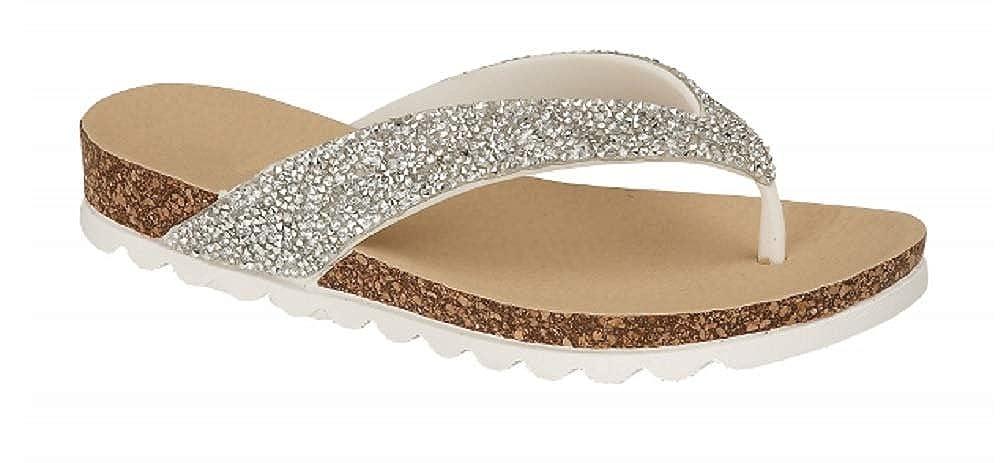 027e98dd4314e Women s Ladies Glitter Jewel Toe Post Flip Flop Beach Sandals Size 3 4 5 6  7 8  Amazon.co.uk  Shoes   Bags