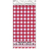 """Red Gingham Plastic Tablecloth, 108"""" x 54"""""""