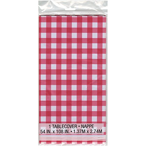 Red Gingham Plastic Tablecloth, 108