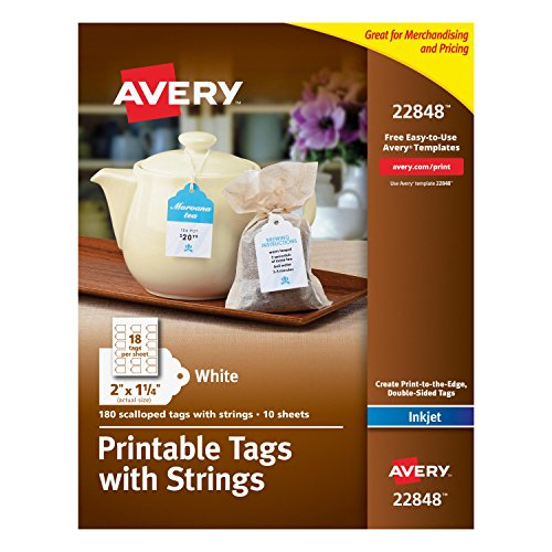 Avery Printable Tags with Strings, Scallop, 2 x 1.25 Inches, Pack of 180 (22848)
