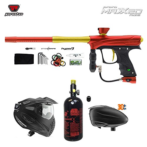 MAddog Proto Rize MaXXed Paintball Gun + Dye SE Thermal Paintball Goggles Combo Package w Paintball Accessories - Red/Gold (Proto Rail Trigger)