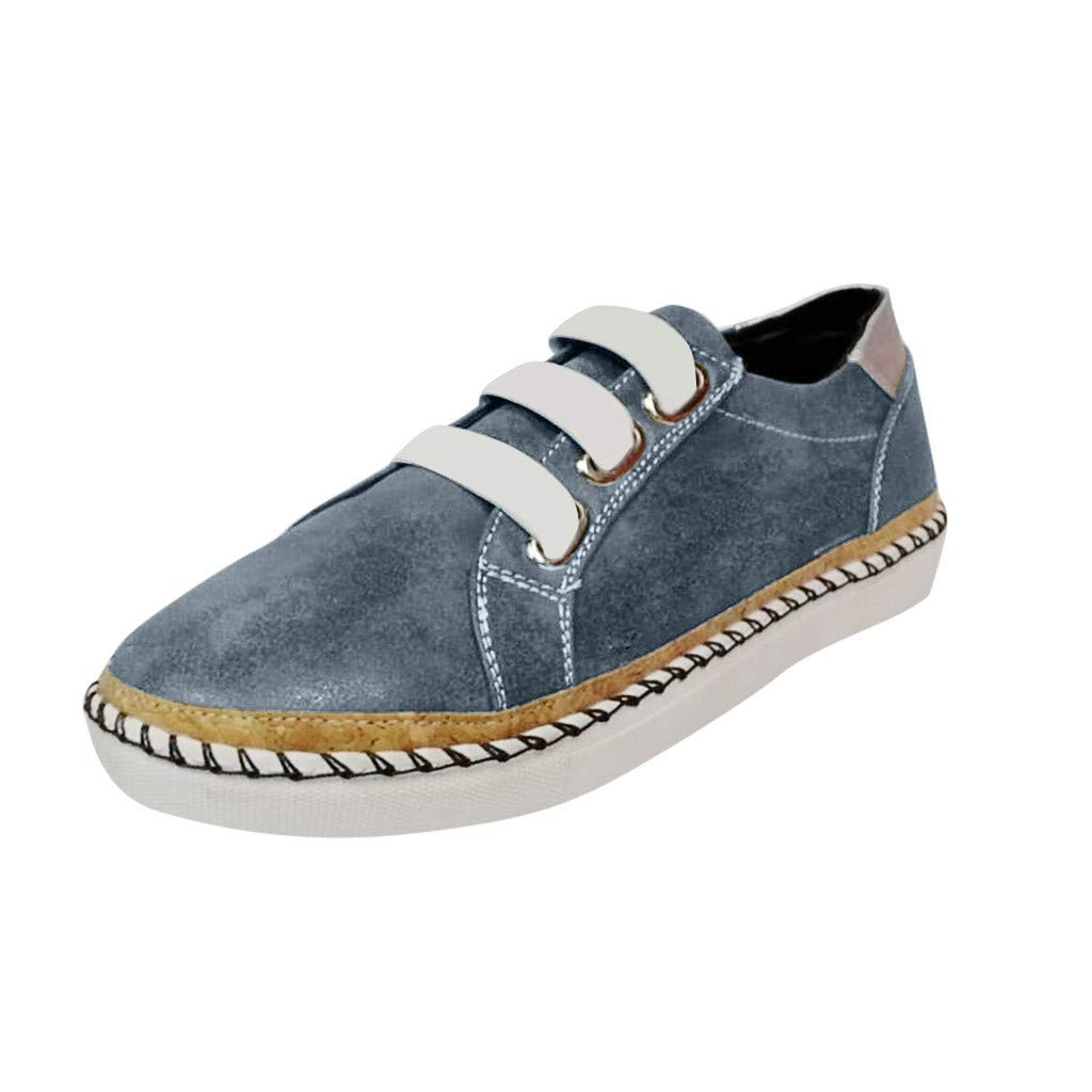ZOMUSAR New! 2019 Womens Fashion Flats Hollow-Out Round Toe Casual Shoes Breathable Sneakers Gray