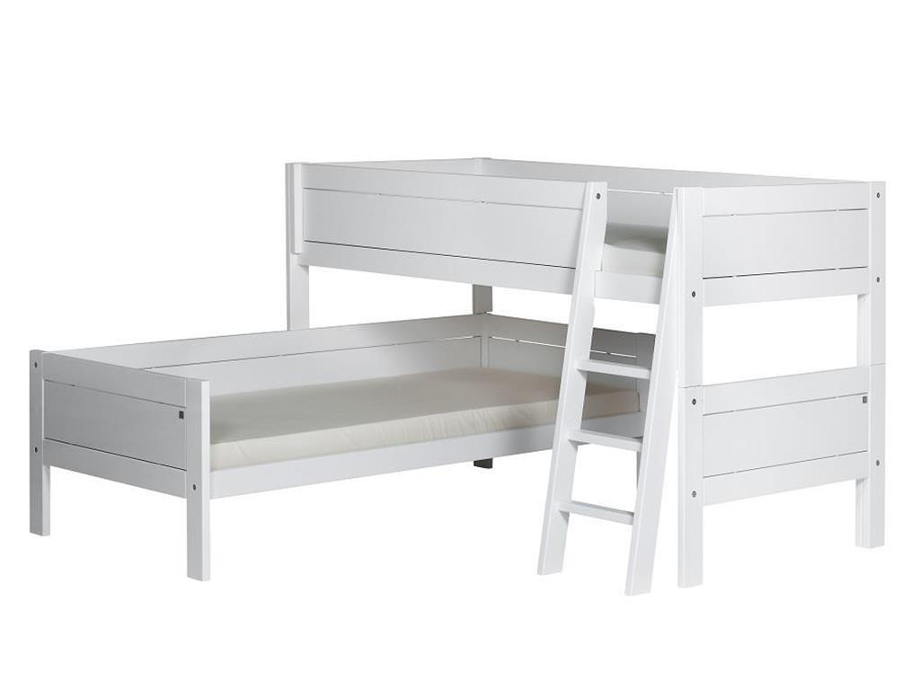 Eck-Etagenbett L-Form Weiß von Lifetime Original 90x200cm|Holzfarbe: weiß lackiert, Fronten: Weiß