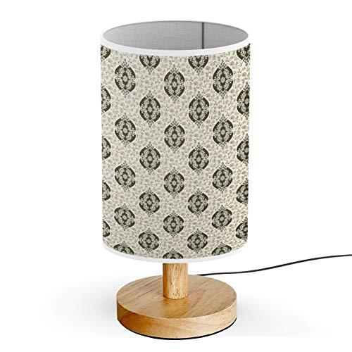 ARTSYLAMP - Wood Base Decoration Desk Table Bedside Light Lamp [ Style Baroque Paisley ]