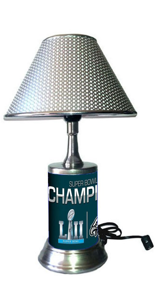 JS Table Lamp with Chrome Shade, Philadelphia Eagles Plate Rolled in on The lamp Base, Champions Super Bowl 52