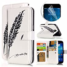 Samsung Galaxy S4 Case, Luxury Dual Wallet Case [9 Card Holder] Premium PU Leather Multifunctional Embossing Pattern Book Style Magnetic Flip Stand Feature Cover Slim Protective Money Pocket Bumper - Black Feather