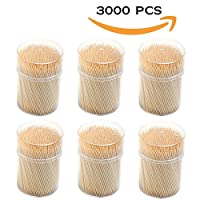 Round Wooden Toothpicks 3000 pcs with 6 Dispensers - Strong Splinter-Free Bamboo Tooth Sticks - Removes Food Between Teeth Quickly, Prevents Plaque and Bad Breath   500 Per Holder