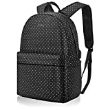 DTBG Laptop Backpack Nylon College Bookbag Travel Backpack with USB Charging Port, Daypack for Girls Women Fits 15.6 Inches Laptop (Black+ White Dot)