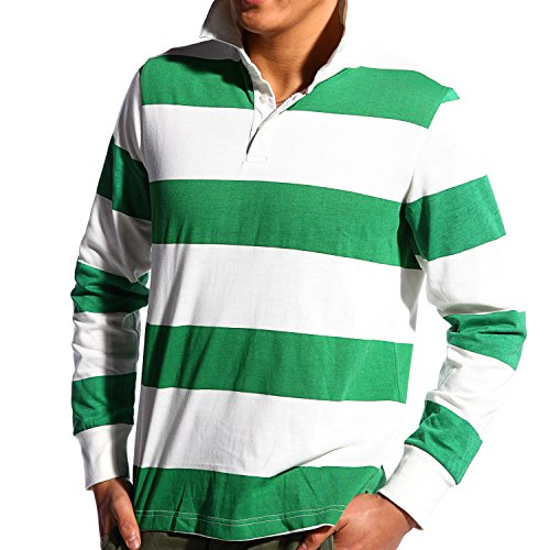 Godsen Men's Classic Long Sleeve Rugby Shirt Sport Polo (M, Stripes(Pack Of (Rugby Stripe Mens Polo Shirt)