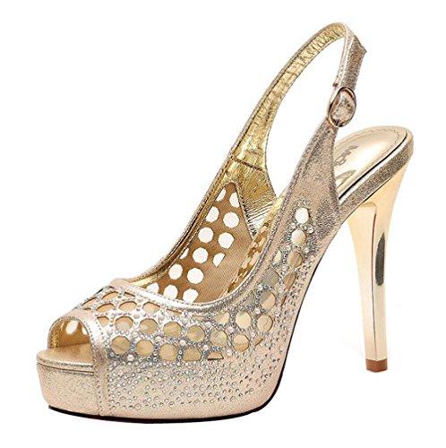 Tacco 37 Spillo Hollow da Oro Colore a Mesh Sandali Tacco Alto Sexy Donna Dimensioni store Shoe Scarpe YqnPafa