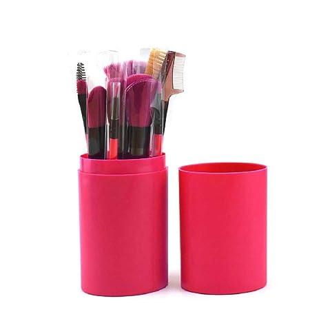 Yoana Professional Series Makeup Brush Set With Storage Barrel   Pack of 12  Rose  Brush Sets   Kits