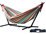Vivere Double Hammock with Space Saving Steel Stand Salsa
