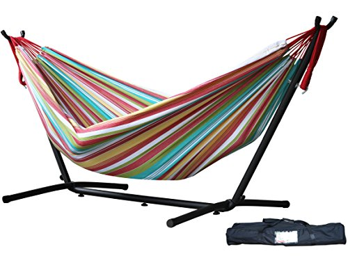 Vivere Double Hammock with Space Saving Steel Stand Salsa (Large Image)