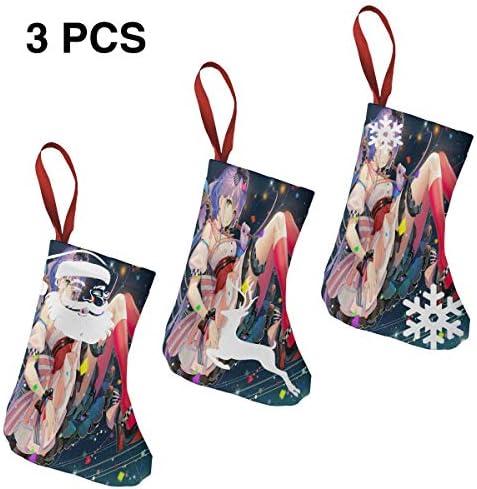 クリスマスの日の靴下 (ソックス3個)クリスマスデコレーションソックス かわいいハーレムガール クリスマス、ハロウィン 家庭用、ショッピングモール用、お祝いの雰囲気を加える 人気を高める、販売、プロモーション、年次式