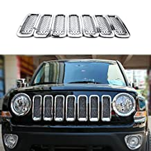 Highitem 7Pcs Chrome Front Mesh Grille Cover Insert Grill Trim For Jeep Patriot 2011-2016 (Silver)