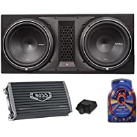 Rockford Fosgate P2-2X12 12 1600W Loaded Subwoofer Sub Enclosure+Amp+Amp Kit