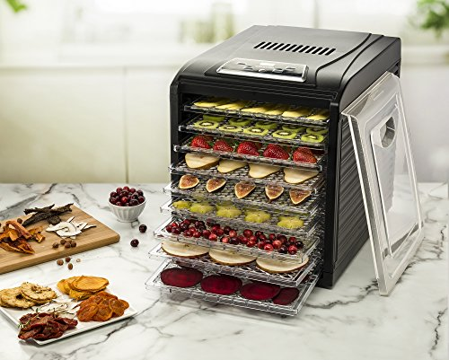 Gourmia GFD1950 Digital Food Dehydrator - 9 Drying Trays Plus Fruit Leather Tray - Digital Temperature Control - Transparent Window - Free recipe Book Included by Gourmia (Image #1)