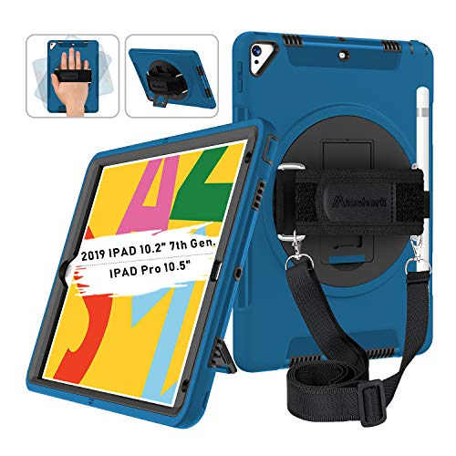 Miesherk iPad 10.2 Case with Pencil Holder, iPad 7th Generation Case, 360 Rotatable Stand Adjustable Strap, Shockproof Case for iPad 7th Gen Case 10.2''/ iPad Air 3/Pro 10.5