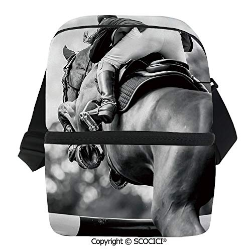 SCOCICI Thermal Insulation Bag Equestrian Sports Theme Racehorse and Sportsman Competition Obstacle Hurdle Decorative Lunch Bag Organizer for Women Men Girls Work School Office - Sportsmans Duffel