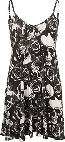 Blanc robe Robes 44 Noir taille mini Grande 54 dbardeur top Tailles imprim Femmes WearAll Taq1Fnfx