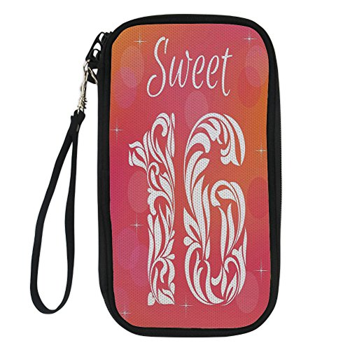 - iPrint 16th Birthday Decorations,Greeting Happy Birth Pattern with Classic Effects Artwork,Dark Coral Scarlet for Women Canvas Document Organizer Clutch