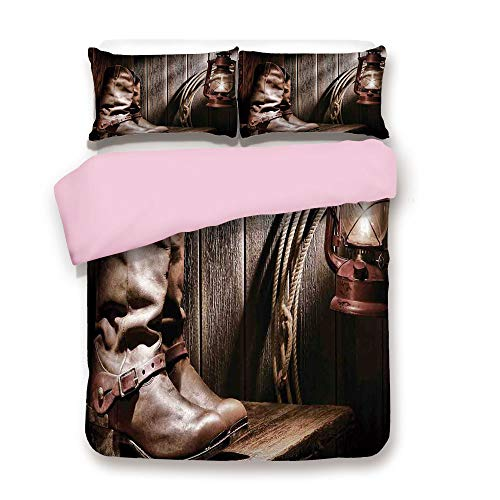 Pink Duvet Cover Set,King Size,Dallas Cowboys and Lantern on a Bench in Vintage Ranch Nostalgic Folkloric Print,Decorative 3 Piece Bedding Set with 2 Pillow Sham,Best Gift for Girls Women,Brown