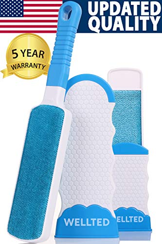 WELLTED Pet Hair Remover Brush - Lint Brush - Fur Remover - Fur & Lint Removal - Dog & Cat Hair Remover - Double-Sided Brush with Self-Cleaning Base - for Furniture Clothing Car Seat (Take The Cat And Leave My Sweater)