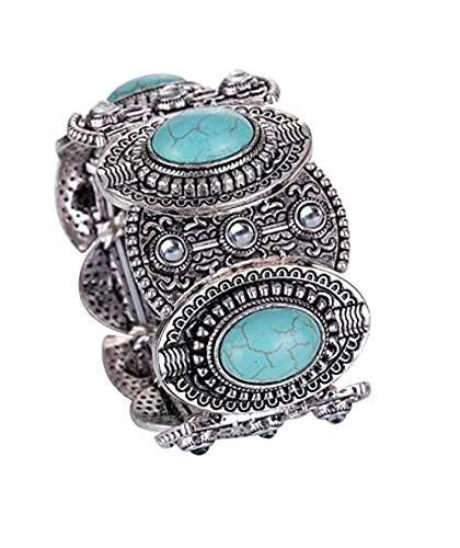 XY Fancy World Vintage Tibetan Silver Ethnic Gothic Oval Turquoise Inlay Wide Bangle Women Free, Multicoloured