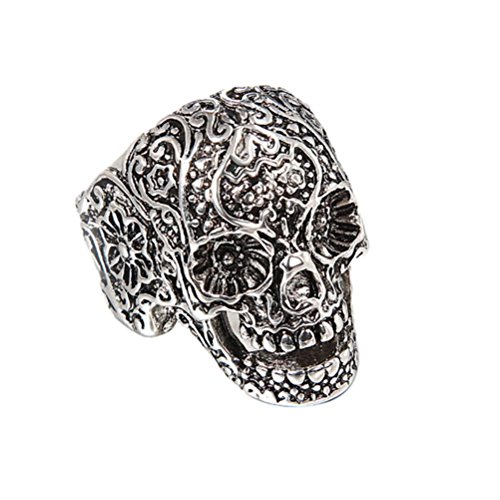 Balakie Skull Head Ring Ornament Fashion Hand Decoration Gift Cool Silver Punk Ring (Silver, 7)