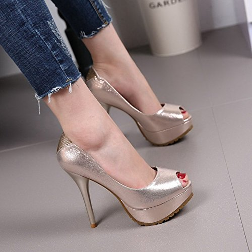 Spring Heel High Water Proof Super Water Summer Shoe Drill Fine Mouth Heel MDRW Woman Shoes And Single Golden Banquet 12Cm Fish Heels Women w0vxxqRa