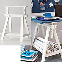 White Wood Desk Table Leg Trestle with Shelf , Height and Angle Adjustable , Also Great for Drafting Table Tops