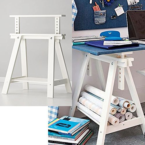 Wood Table Trestle - White Wood Desk Table Leg Trestle with Shelf , Height and Angle Adjustable , Also Great for Drafting Table Tops