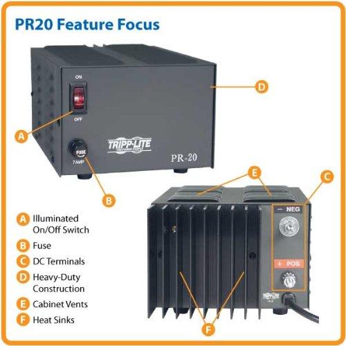 Tripp Lite PR20 DC Power Supply 20A 120V AC Input to 13.8V DC Output TAA GSA by Tripp Lite