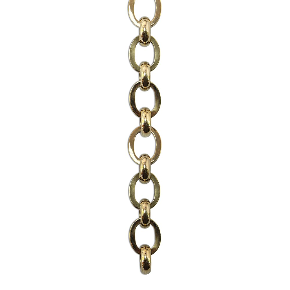 RCH Hardware CH-32-PN-3 Decorative Polished Solid Brass Chain for Hanging, Lighting - Large Oval Hinge with Circular Connecting Rings (3 ft/1 Yard)