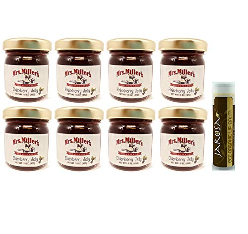 Mrs. Miller's Amish Homemade Elderberry Jelly Minis 1.5 Ounces - Pack of 8 (No Corn Sugar) with a Jarosa Bee Organic Chocolate Bliss Lip Balm by Jarosa Gifts