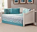 Best Fancy Linen Home Collection Bed Skirts - Fancy Collection 5pc Daybed Set Aqua Turquoise Coastal Review