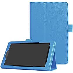 CCMAO All-New Fire 7 Tablet Case,Ultra Slim Premium PU Leather Folio Smart Cover For All-New Fire 7 (7th Generation, 2017 Release) (sky blue)