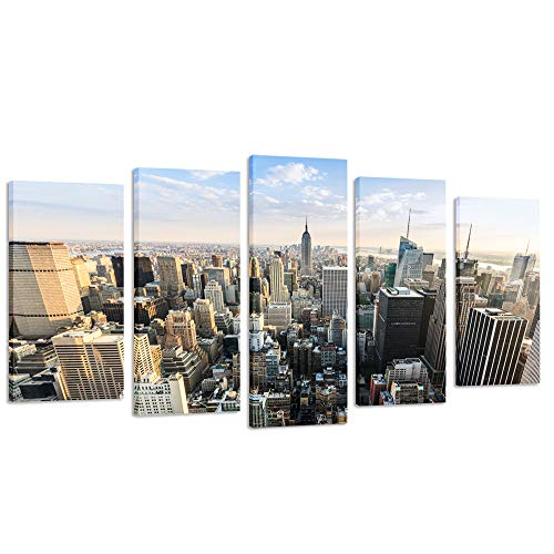- Creative Art- Gallery Wrap Canvas Print - New York Cityscape Empire States Building Split 5 Panel Canvas Wall Art for Living Room,Large Size Canvas Artwork Ready to Hang (40''x24'')