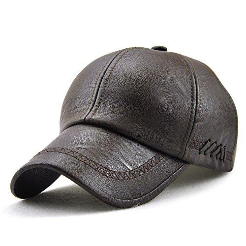 PU Leather Baseball Cap Casquette Flat Hat European and American Retro Style For Men (Dark - Style Male Retro