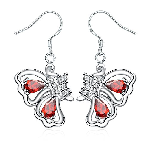 iCAREu Silver Plated Multicolor Zircons Butterfly Post Earrings for Women, Girls (Blue Cloisonne Tube Beads)