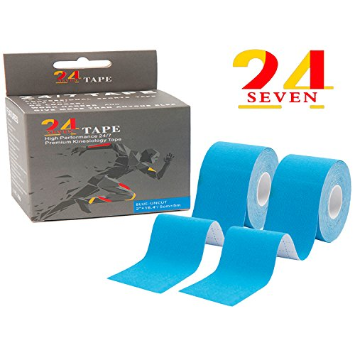 Kinesiology Tape 24/7 Therapeutic Tape for Muscular tissues, Knee, Shoulder & Elbow, Pain Aid, Injury Restoration, Waterproof & Latex Free, 2″x16.5′ Uncut + Bonus E-GUIDE with A Folding Scissor or A Mini Knife – DiZiSports Store