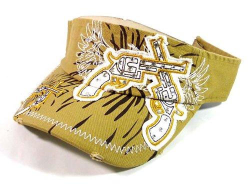 Fashion Rhinestone Crossed Pistols Visor Hats - Khaki (Swix Beanie Mens)