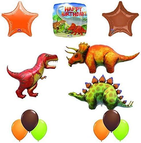 Prehistoric Giant Stegosaurus and Triceratops Birthday Dinosaur Balloon Decoration 12 pc Kit