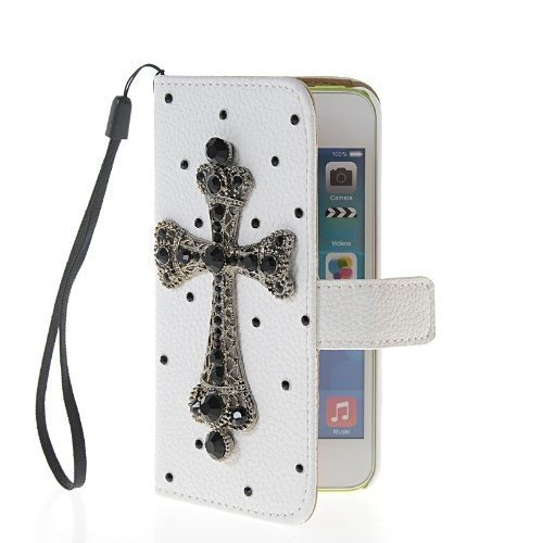 4s Cross (iPhone 4/4s Case, LA GO GO(TM) Luxury 3D Bling Handmade Glitter Rhinestone Pearl Leather Flip Wallet Purse Card Pouch Stand Protective Case for Apple iPhone 4 4s 4g (Black Cross, iPhone 4/4s))
