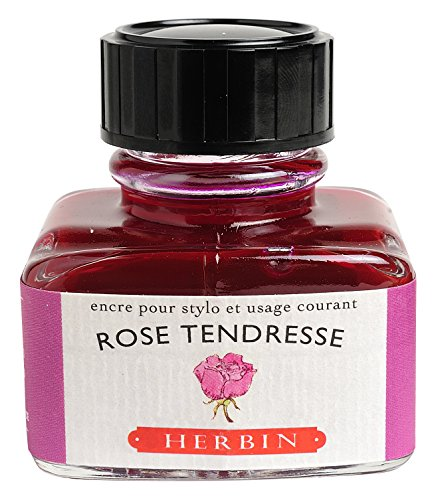 "J Herbin 30 ml""D"" Ink Bottle - Rose Tendresse"
