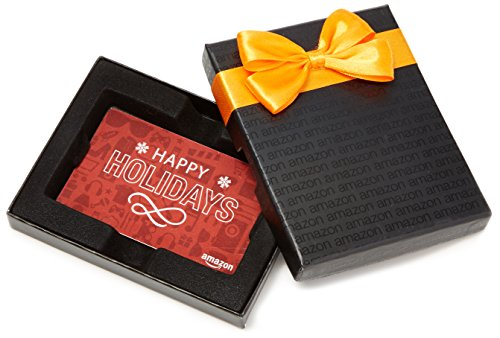 Amazon.com Gift Card in a Black Gift Box (Holiday Icons Card Design) -