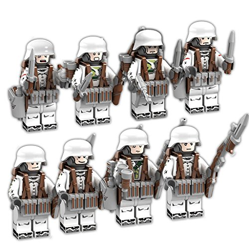 WW2 German Eagle Corps - Army Minifigures Set - 8 German Soldiers with Military Weapons Accessories Building Bricks Set 100% Compatible
